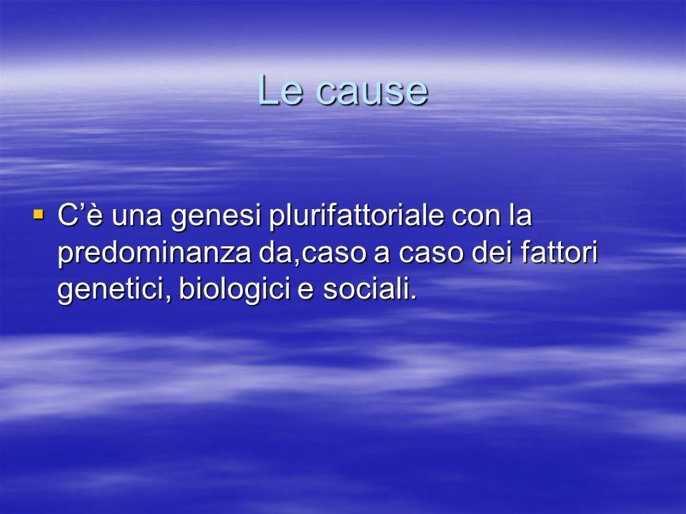 Le cause C'è una genesi plurifattoriale con la predominanza da,caso a caso dei fattori genetici, biologici e sociali.
