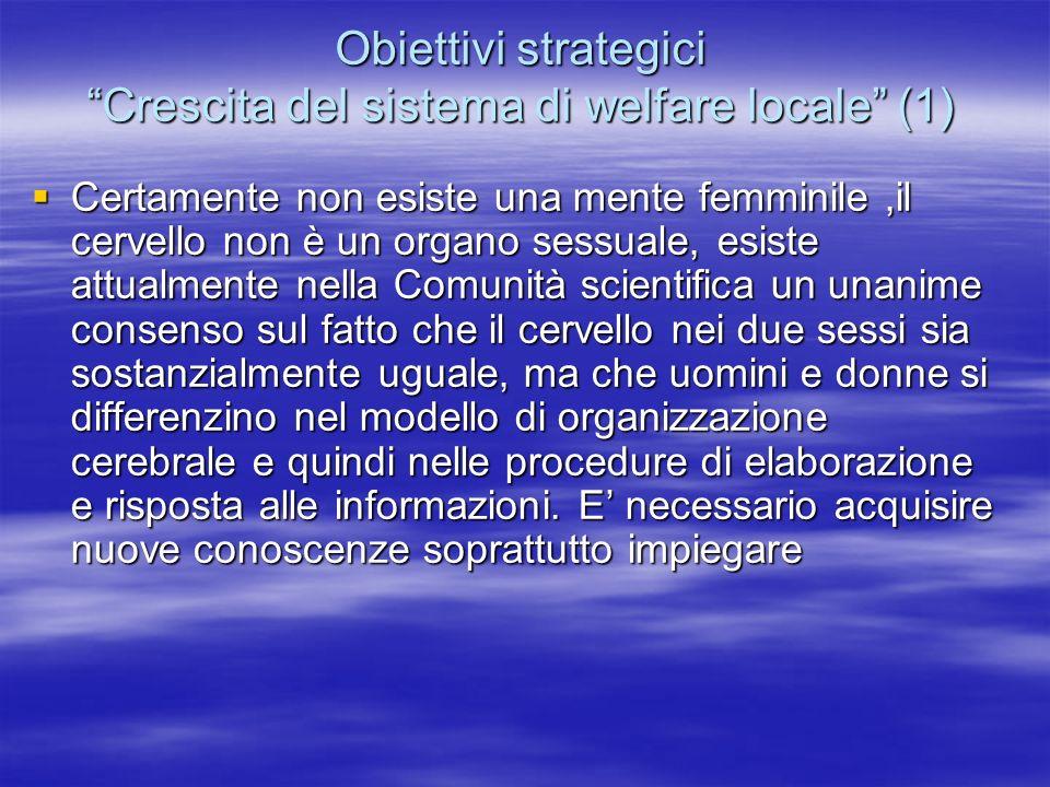 Obiettivi strategici Crescita del sistema di welfare locale (1)