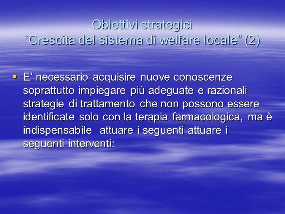 Obiettivi strategici Crescita del sistema di welfare locale (2)