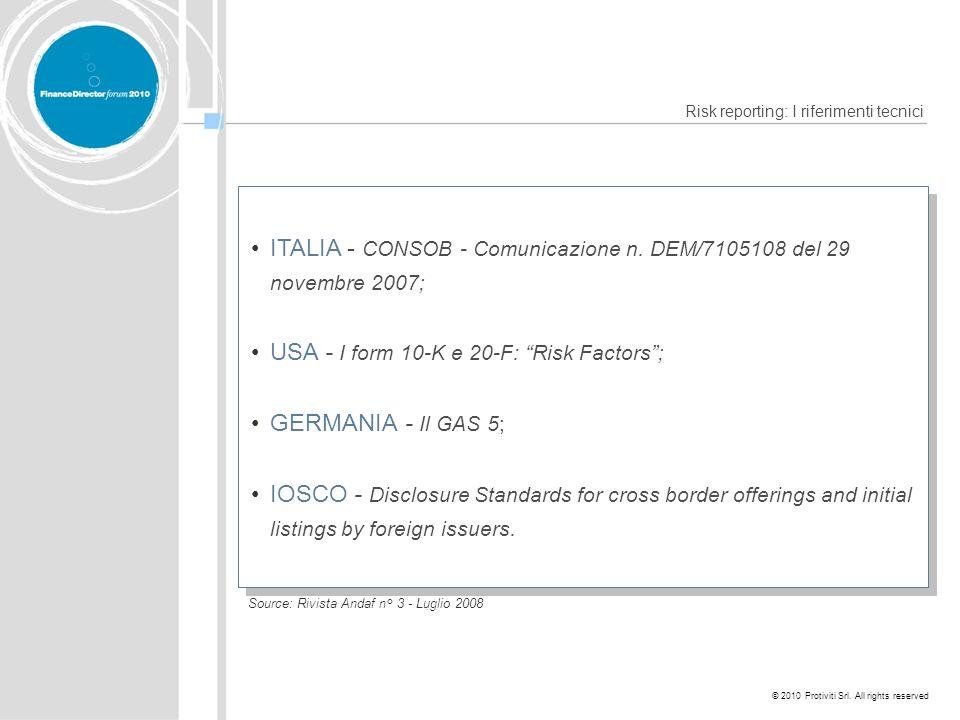 ITALIA - CONSOB - Comunicazione n. DEM/7105108 del 29 novembre 2007;