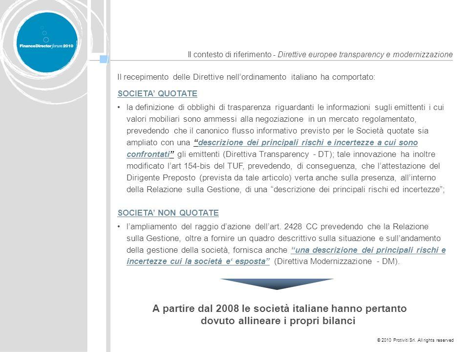 A partire dal 2008 le società italiane hanno pertanto