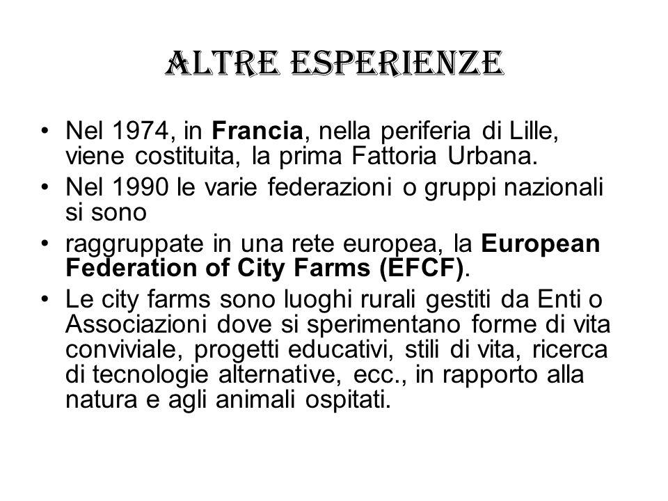 Altre esperienze Nel 1974, in Francia, nella periferia di Lille, viene costituita, la prima Fattoria Urbana.