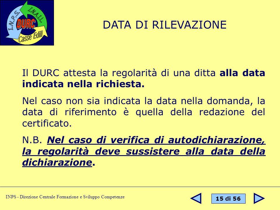 DATA DI RILEVAZIONE Il DURC attesta la regolarità di una ditta alla data indicata nella richiesta.