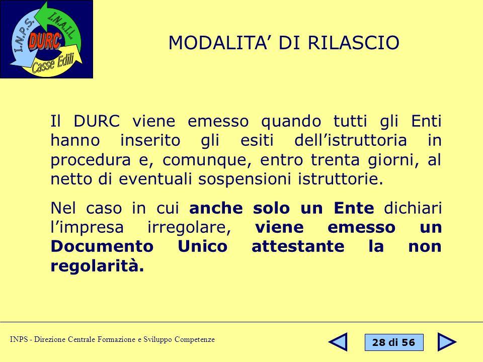 MODALITA' DI RILASCIO