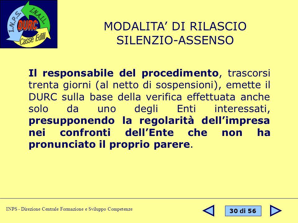MODALITA' DI RILASCIO SILENZIO-ASSENSO