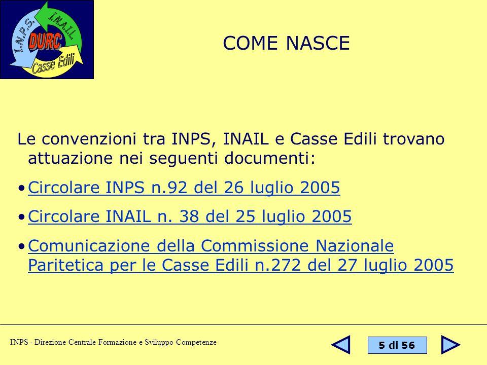 COME NASCE Le convenzioni tra INPS, INAIL e Casse Edili trovano attuazione nei seguenti documenti: Circolare INPS n.92 del 26 luglio 2005.