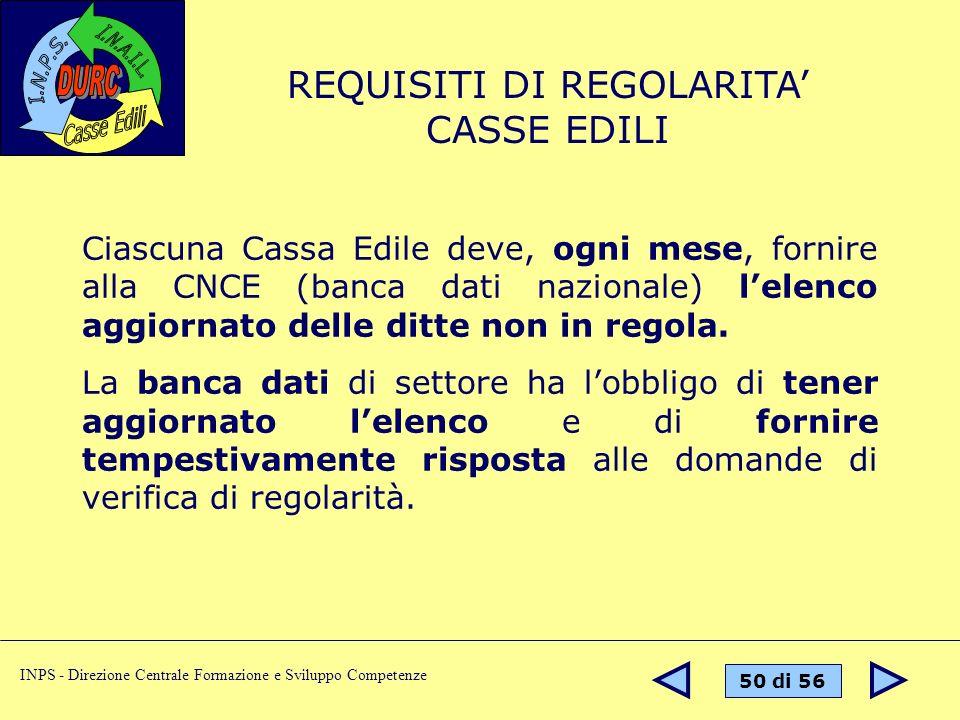 REQUISITI DI REGOLARITA' CASSE EDILI
