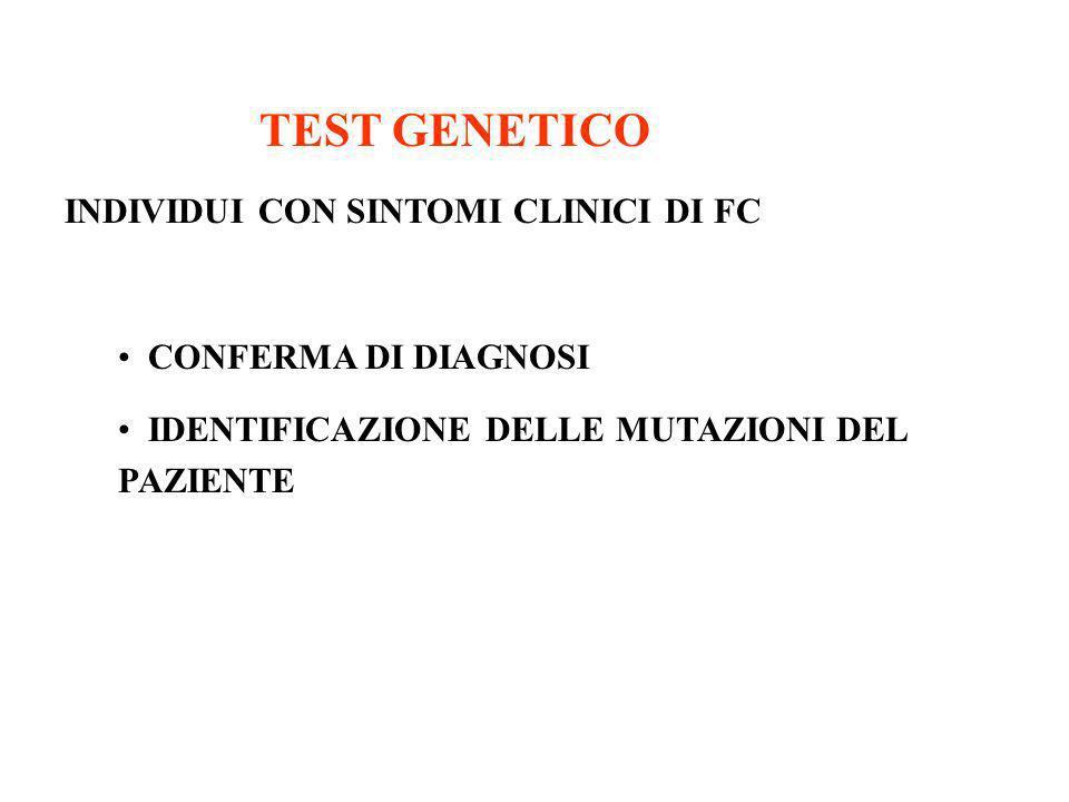 TEST GENETICO INDIVIDUI CON SINTOMI CLINICI DI FC CONFERMA DI DIAGNOSI
