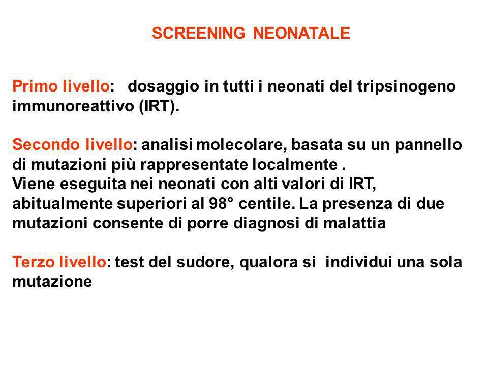 SCREENING NEONATALE Primo livello: dosaggio in tutti i neonati del tripsinogeno immunoreattivo (IRT).
