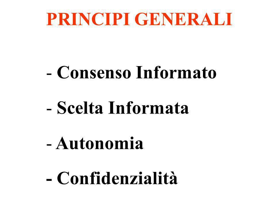 PRINCIPI GENERALI Consenso Informato Scelta Informata Autonomia - Confidenzialità