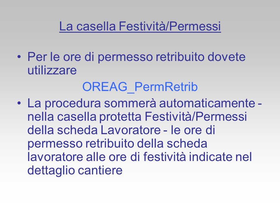 La casella Festività/Permessi