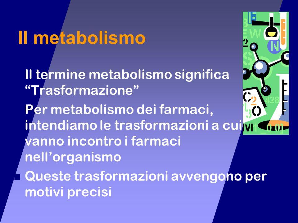 Il metabolismo Il termine metabolismo significa Trasformazione