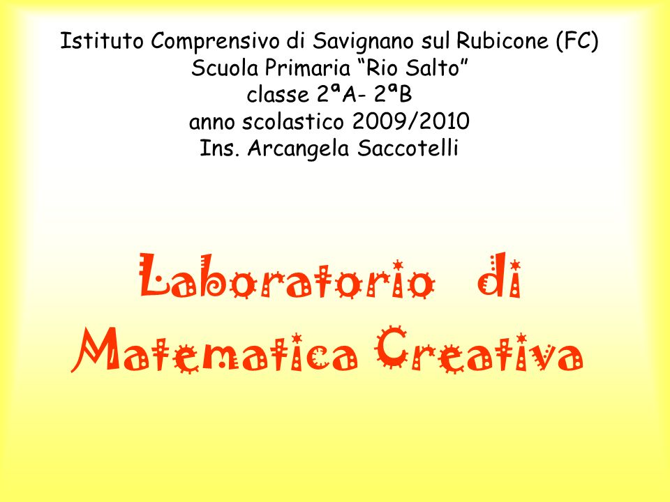 Laboratorio di Matematica Creativa