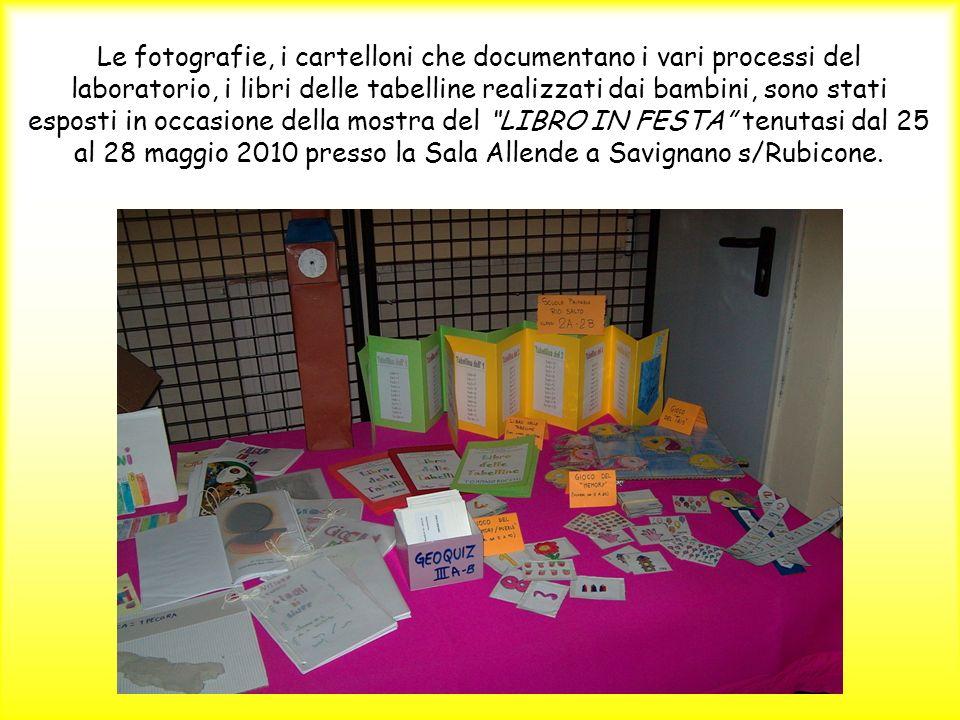 Le fotografie, i cartelloni che documentano i vari processi del laboratorio, i libri delle tabelline realizzati dai bambini, sono stati esposti in occasione della mostra del LIBRO IN FESTA tenutasi dal 25 al 28 maggio 2010 presso la Sala Allende a Savignano s/Rubicone.