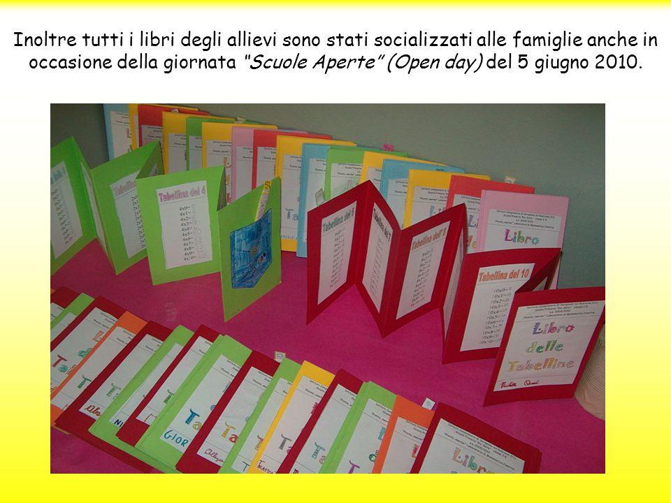 Inoltre tutti i libri degli allievi sono stati socializzati alle famiglie anche in occasione della giornata Scuole Aperte (Open day) del 5 giugno 2010.