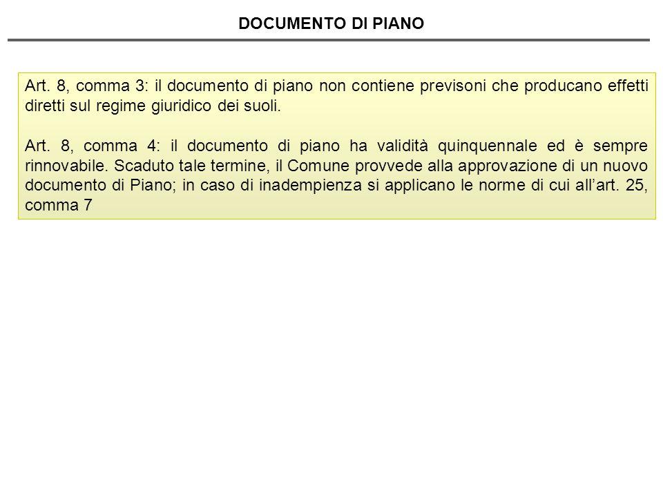 DOCUMENTO DI PIANO Art. 8, comma 3: il documento di piano non contiene previsoni che producano effetti diretti sul regime giuridico dei suoli.