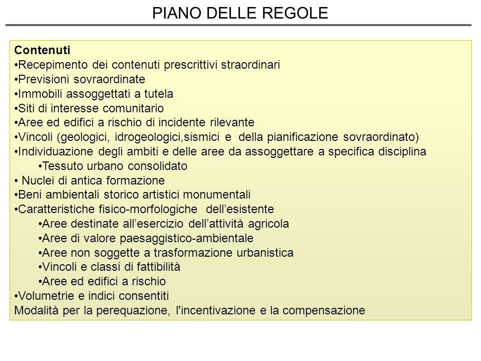 PIANO DELLE REGOLE Contenuti