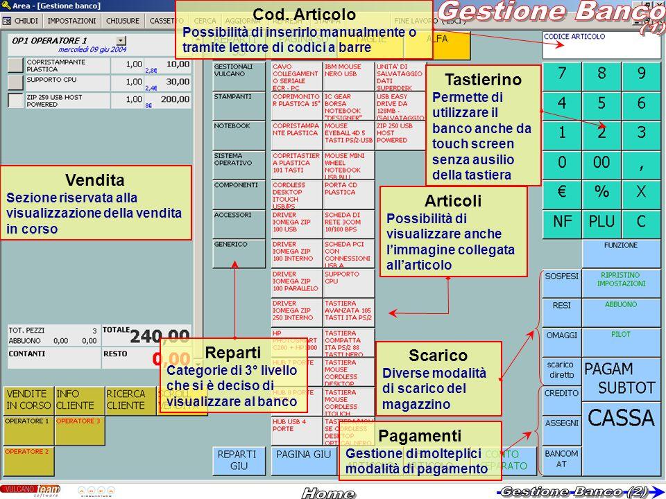 Gestione Banco (1) Home Gestione Banco (2) Cod. Articolo Tastierino