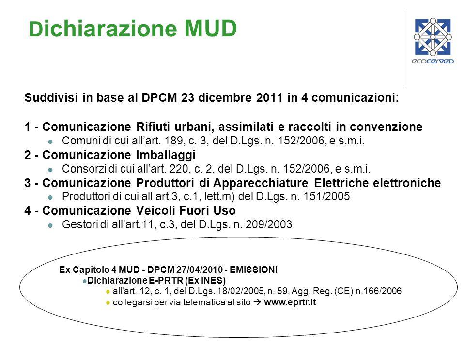 Dichiarazione MUDSuddivisi in base al DPCM 23 dicembre 2011 in 4 comunicazioni: