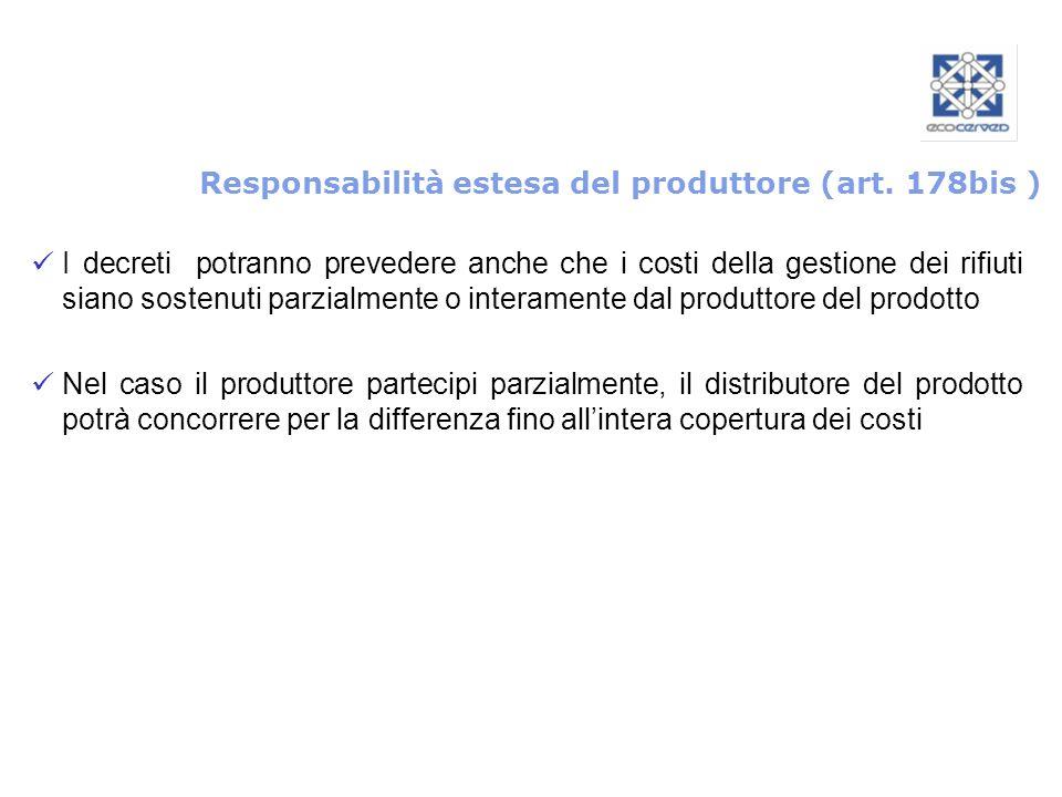 Responsabilità estesa del produttore (art. 178bis )