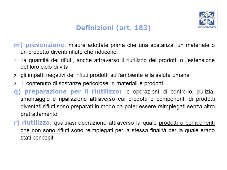 Definizioni (art. 183) m) prevenzione: misure adottate prima che una sostanza, un materiale o un prodotto diventi rifiuto che riducono: