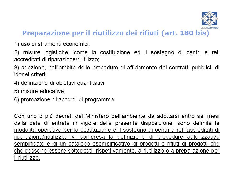 Preparazione per il riutilizzo dei rifiuti (art. 180 bis)