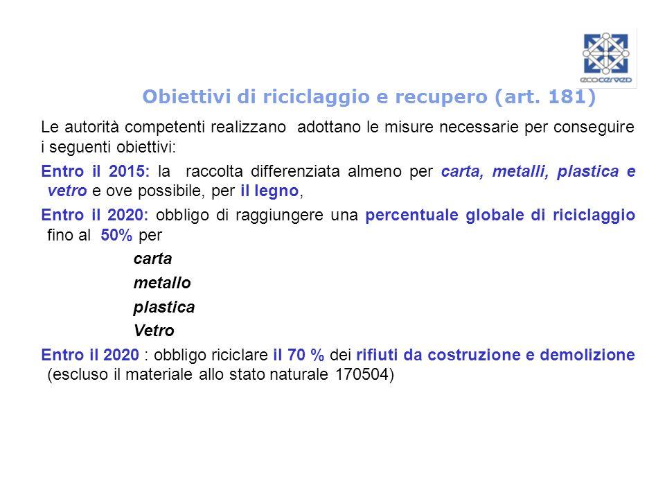 Obiettivi di riciclaggio e recupero (art. 181)