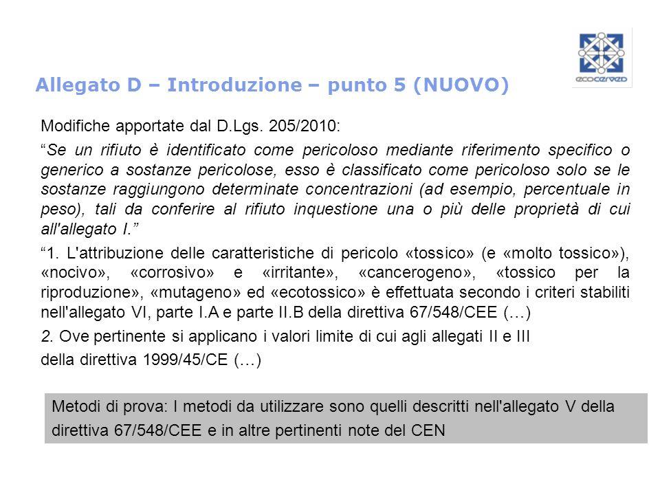 Allegato D – Introduzione – punto 5 (NUOVO)