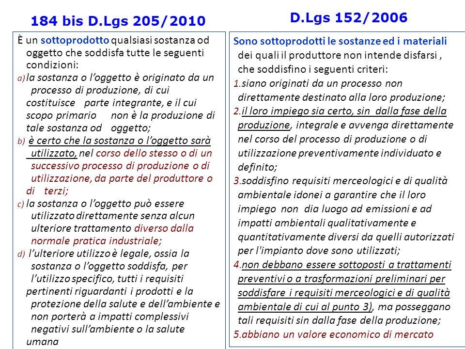 D.Lgs 152/2006 184 bis D.Lgs 205/2010. È un sottoprodotto qualsiasi sostanza od oggetto che soddisfa tutte le seguenti condizioni: