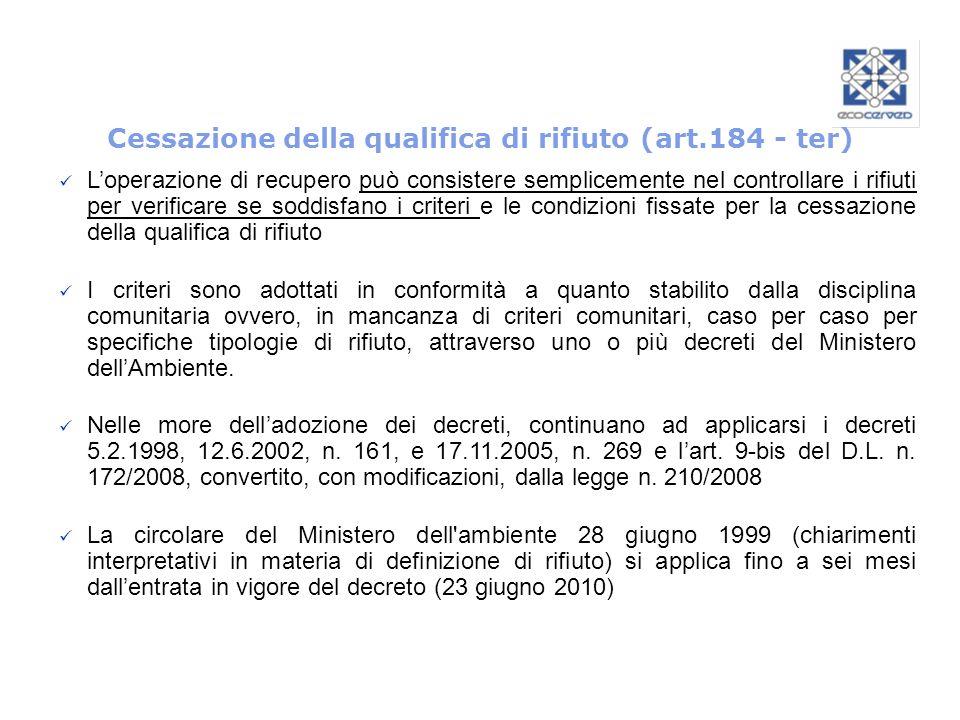 Cessazione della qualifica di rifiuto (art.184 - ter)