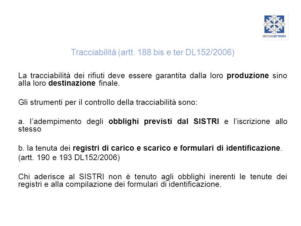 Tracciabilità (artt. 188 bis e ter DL152/2006)