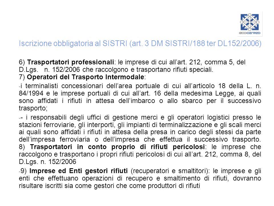 Iscrizione obbligatoria al SISTRI (art. 3 DM SISTRI/188 ter DL152/2006)