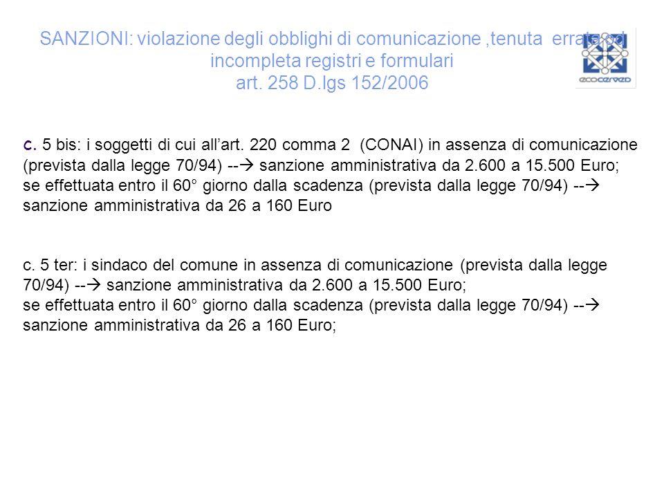 SANZIONI: violazione degli obblighi di comunicazione ,tenuta errata od incompleta registri e formulari