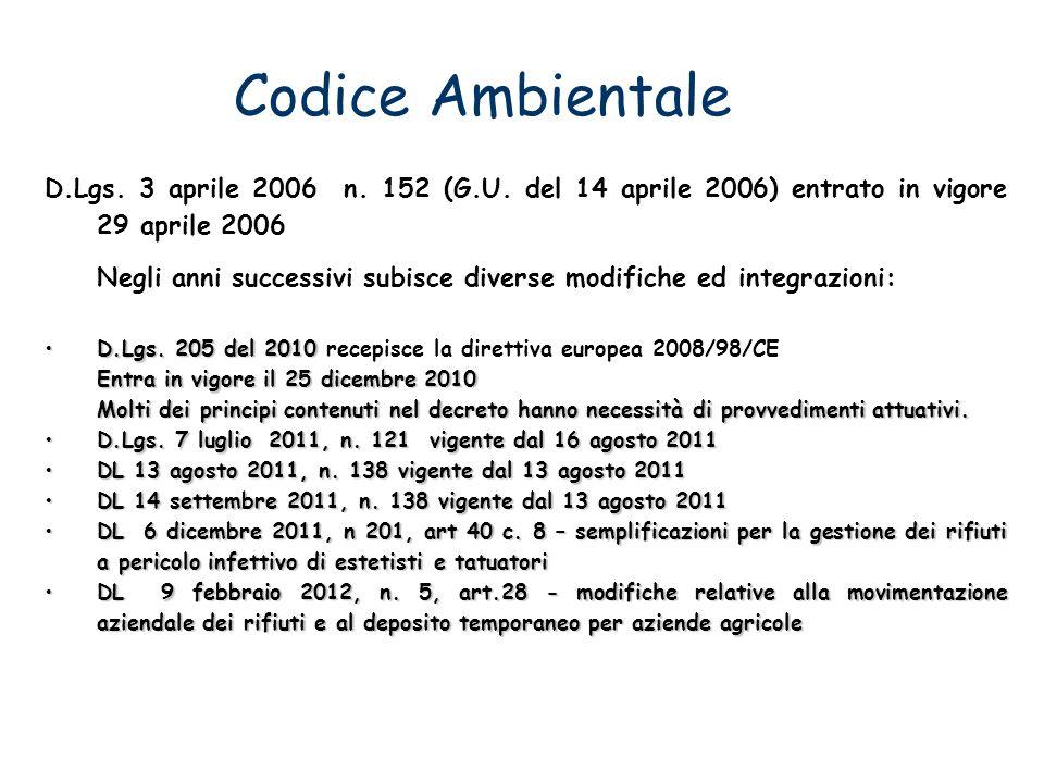 Codice Ambientale D.Lgs. 3 aprile 2006 n. 152 (G.U. del 14 aprile 2006) entrato in vigore 29 aprile 2006.