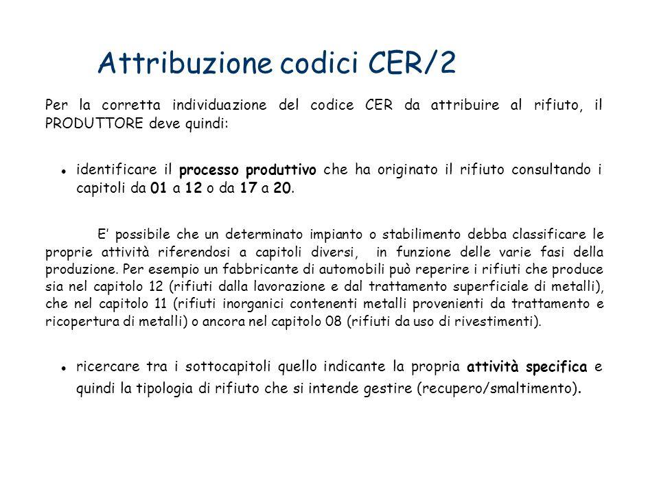 Attribuzione codici CER/2