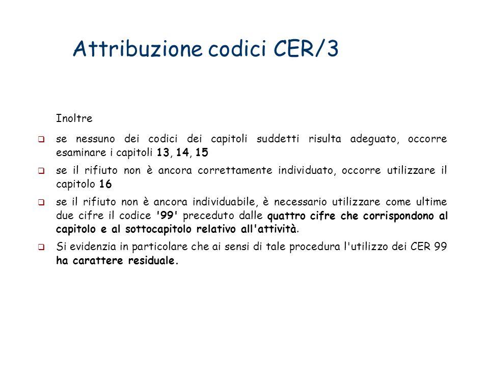 Attribuzione codici CER/3