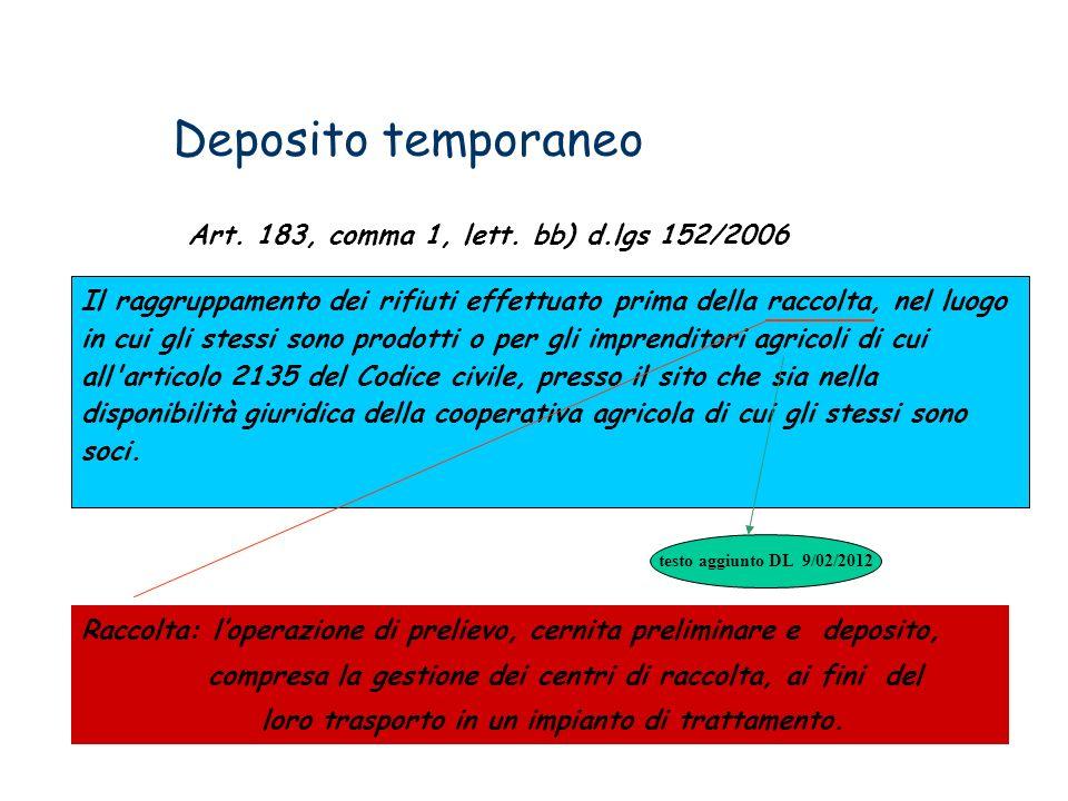 Deposito temporaneo Art. 183, comma 1, lett. bb) d.lgs 152/2006