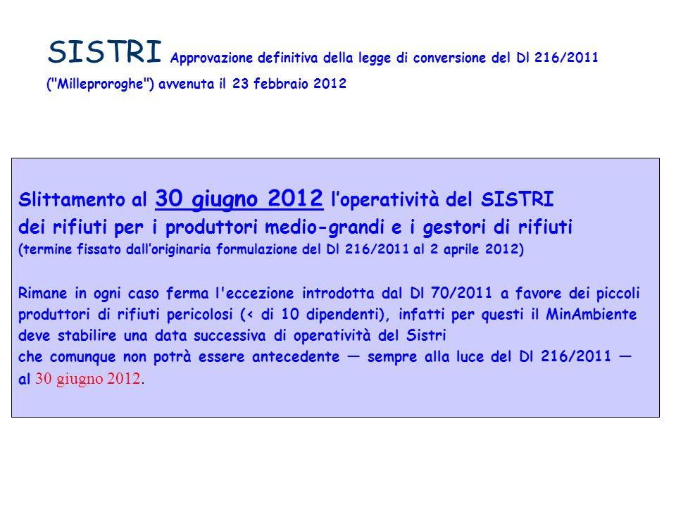 SISTRI Approvazione definitiva della legge di conversione del Dl 216/2011 ( Milleproroghe ) avvenuta il 23 febbraio 2012