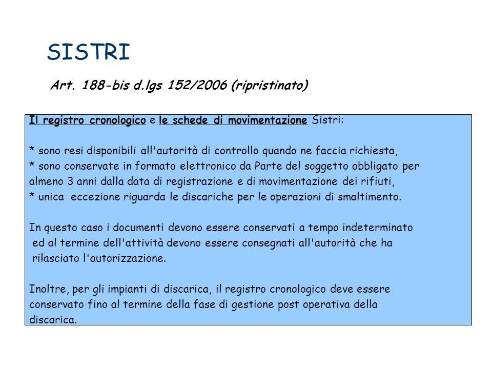SISTRI Art. 188-bis d.lgs 152/2006 (ripristinato)