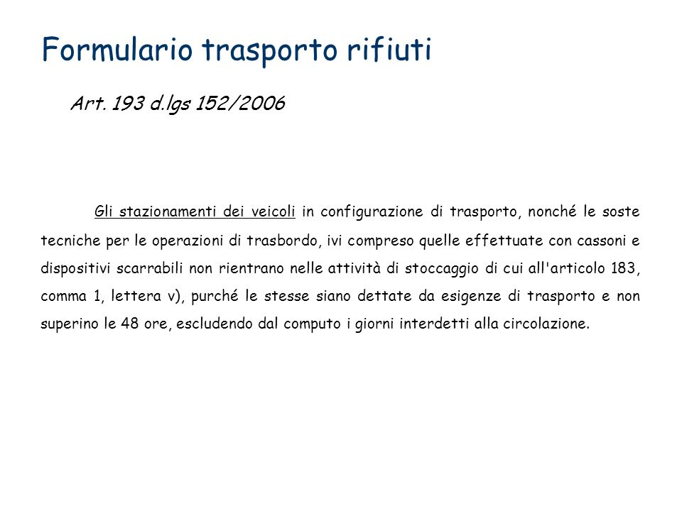 Formulario trasporto rifiuti
