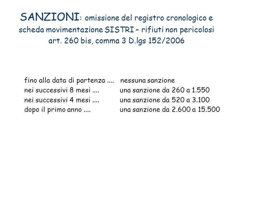 SANZIONI: omissione del registro cronologico e scheda movimentazione SISTRI – rifiuti non pericolosi art. 260 bis, comma 3 D.lgs 152/2006