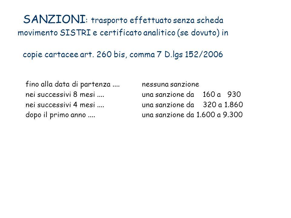 SANZIONI: trasporto effettuato senza scheda movimento SISTRI e certificato analitico (se dovuto) in copie cartacee art. 260 bis, comma 7 D.lgs 152/2006