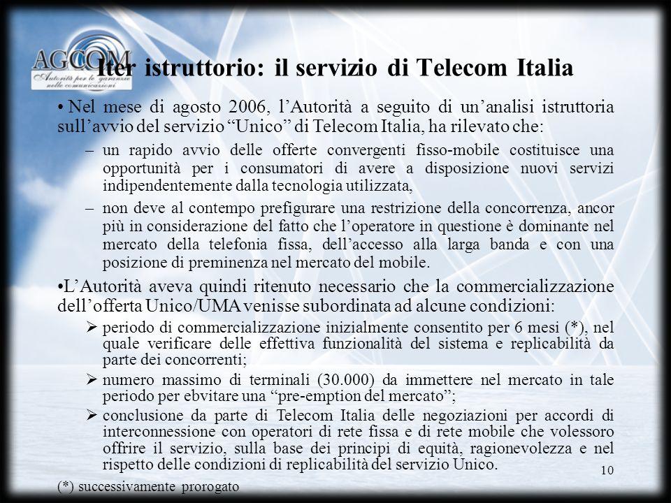 Iter istruttorio: il servizio di Telecom Italia