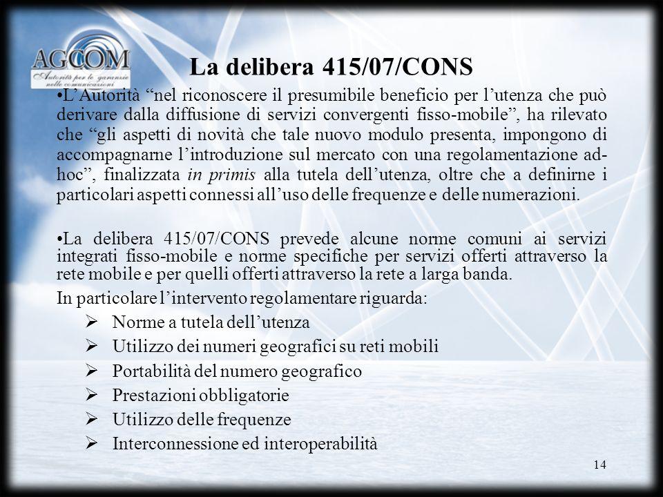 La delibera 415/07/CONS