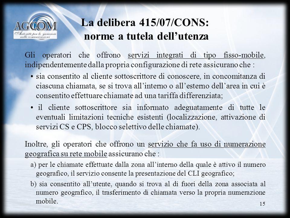 La delibera 415/07/CONS: norme a tutela dell'utenza