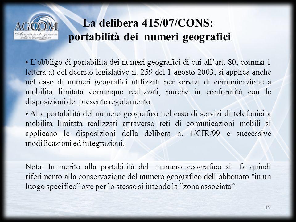 La delibera 415/07/CONS: portabilità dei numeri geografici