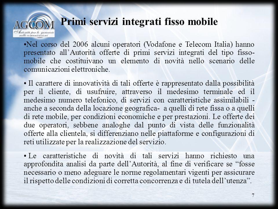 Primi servizi integrati fisso mobile