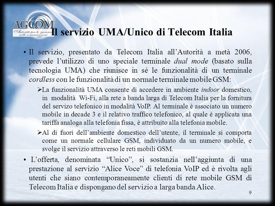 Il servizio UMA/Unico di Telecom Italia
