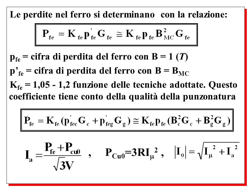 , PCu0=3RI2 , Le perdite nel ferro si determinano con la relazione: