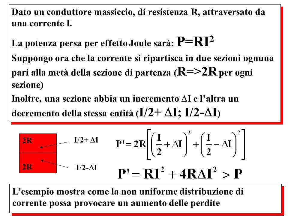 La potenza persa per effetto Joule sarà: P=RI2